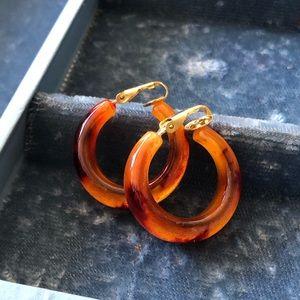 Vintage Plastic Tortoise Clip On Hoop Earrings